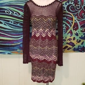 free people chevron wool/cotton sweater dress